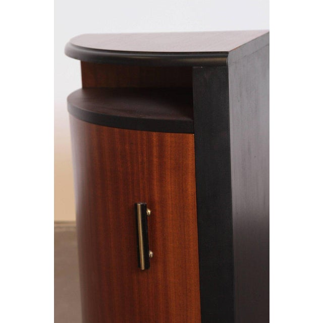 Pair of Art Deco Half Demilune Ribbon Mahogany Corner Occasional Tables For Sale - Image 9 of 11