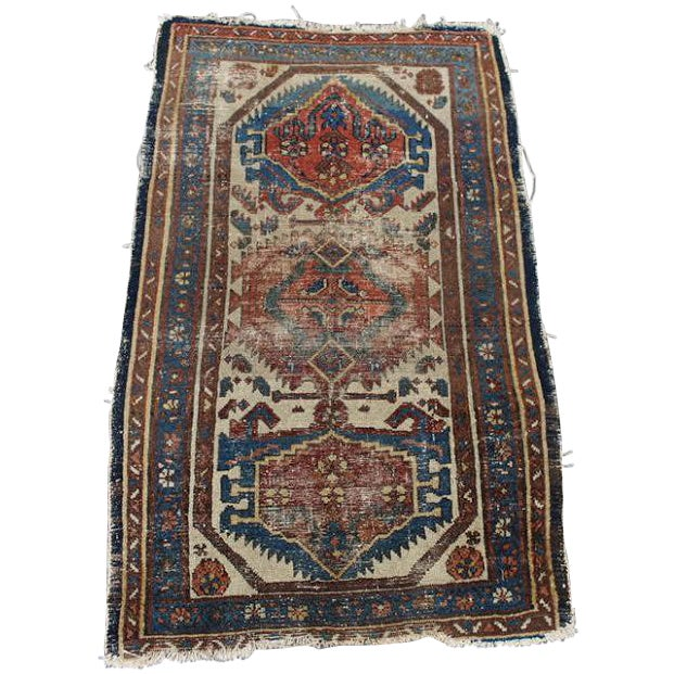 """Antique Persian Rug - 2'9"""" x 4'5"""" - Image 1 of 9"""