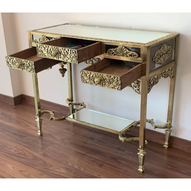 Late 19th Century 19th French Bronze Mirrored Dressing Table or Vanity With Three Drawers For Sale - Image 5 of 12