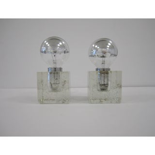 Pair Italian Postmodern Poliarte Ice Cube Clear Art Glass Table Lamps, Ca. 1970s Preview