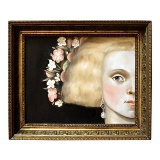 1630s Contemporary Portrait of Woman Painting For Sale