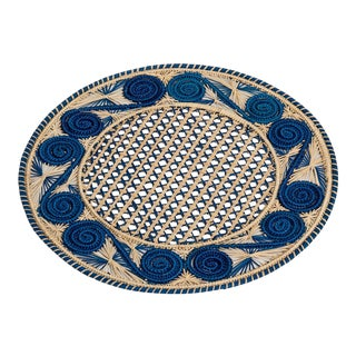 Handwoven Blue and Cream Iraca Fibre Placemat's' Made in Colombia For Sale