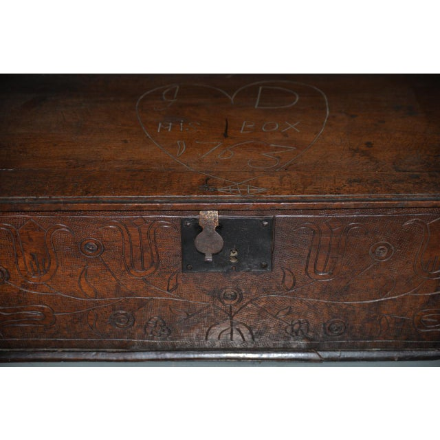 18th Century Carved Walnut Bible Box C.1763 For Sale - Image 9 of 11