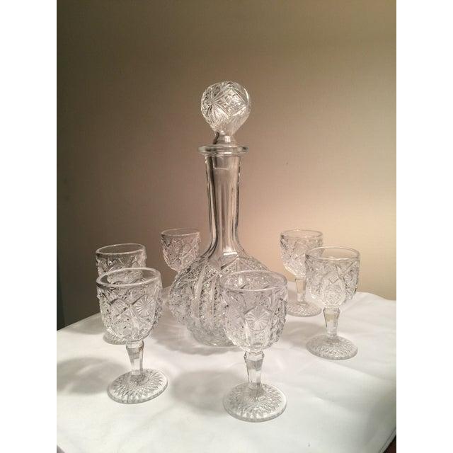 Vintage Pressed Glass Decanter With Goblets Wine Set For Sale - Image 4 of 12