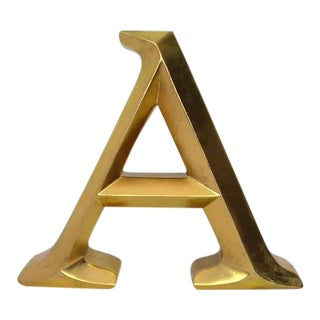 Golden a Letter Wall or Shelf Decor For Sale