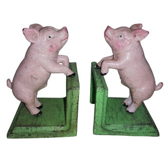 Cast Iron Pink Pig Bookends - A Pair For Sale
