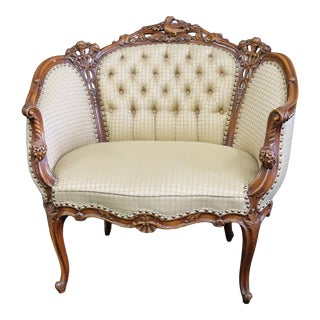 Louis XV Style Walnut Carved Lovebird Chair For Sale