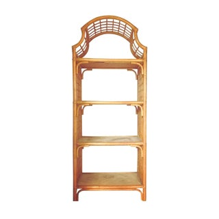 Vintage 1960s Pagoda Shape Rattan Bamboo Shelves Etagere Palm Beach Regency For Sale