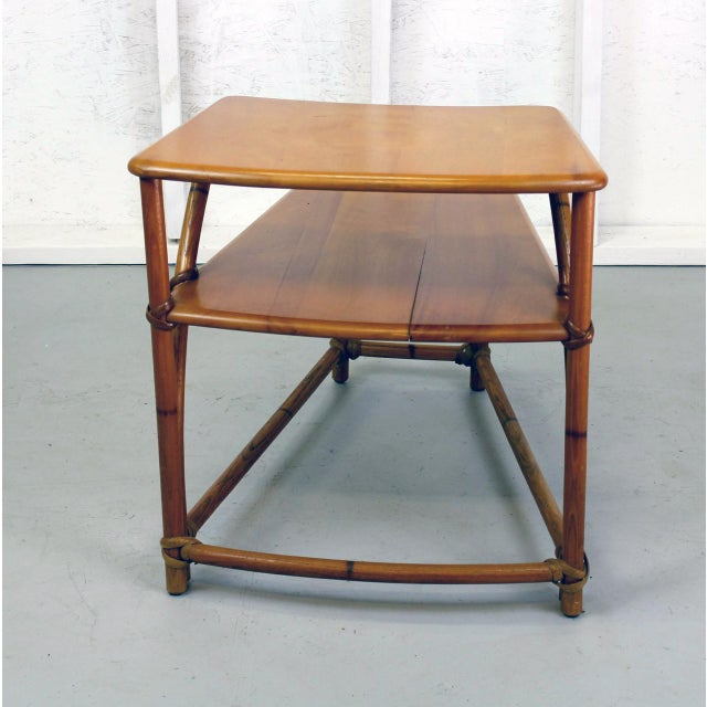 Heywood-Wakefield Heywood-Wakefield TwoTiered Wedge Shaped End Table For Sale - Image 4 of 6