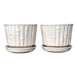 Vintage McCoy White Faux Bamboo Planters - a Pair