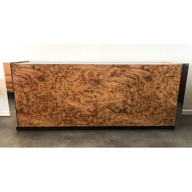 Paul Evans Style Faux Burl & Chrome Credenza For Sale - Image 9 of 10