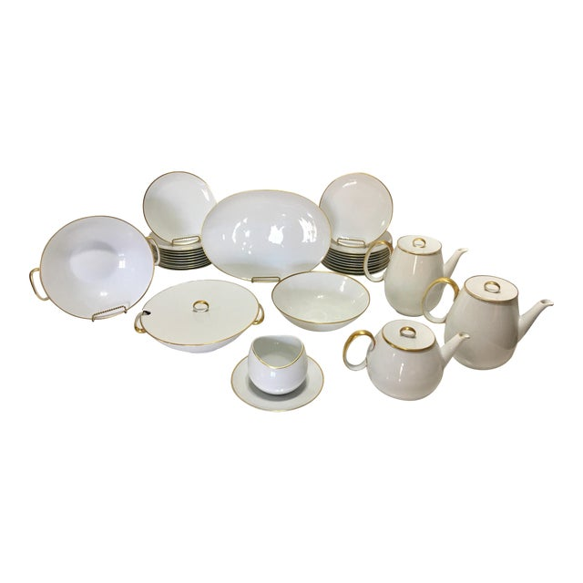 Pure White Porcelain With Gold Trim Serving Ware 28Pcs - Image 1 of 8