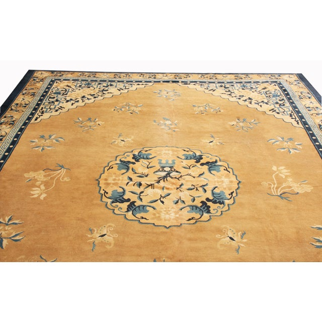Rug & Kilim Antique Peking Traditional Gold and Blue Wool Rug - 9′ × 12′8″ For Sale - Image 4 of 6