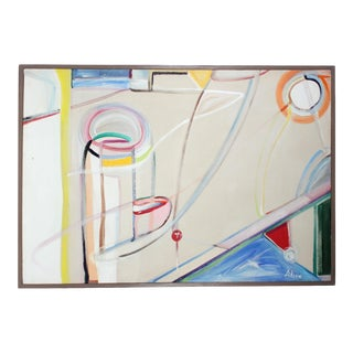 "1980s ""Harbor"" Large Colorful Abstract Expressionist Oil on Canvas Painting For Sale"
