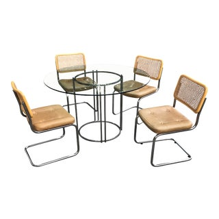1970s Vintage Marcel Breuer Chrome Pedestal Dining Table & Cantilever Chairs - 5 Pieces For Sale