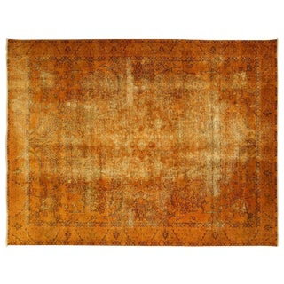 Irani Persian Fire Orange Overdyed Rug 10' x 13'