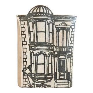 Vintage Mid Century Jon Carlos Lopez Designs for Bennington Pottery Brownstone Vase/Planter For Sale