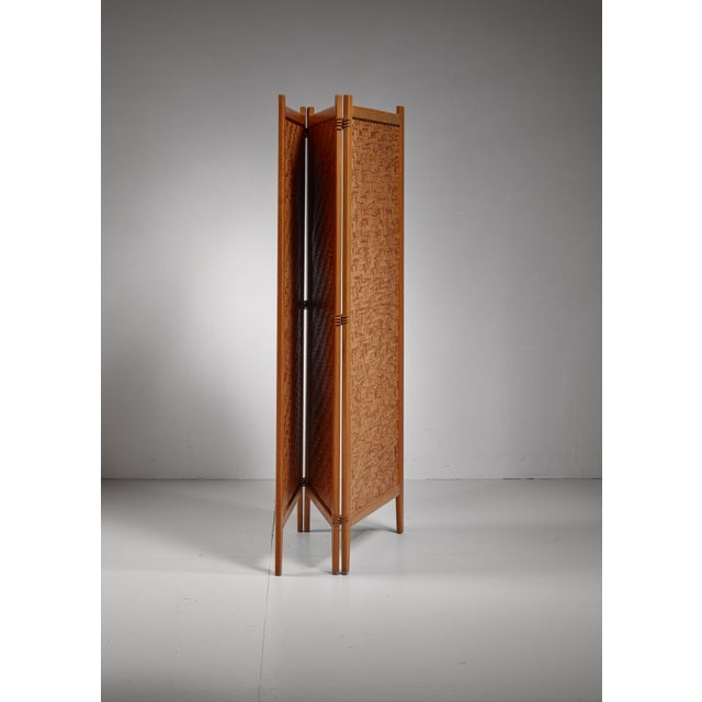 Mid-Century Modern Pine folding screen, Sweden For Sale - Image 3 of 5
