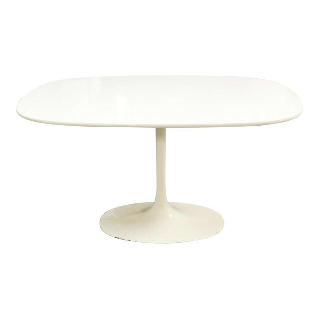 Mid Century Modern Saarinen Style Rectangular White Tulip Dining Table For Sale