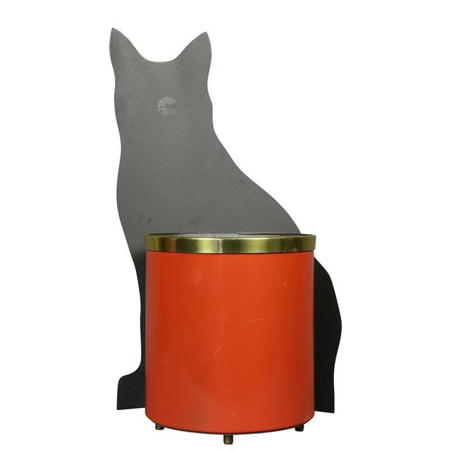 Atelier Fornasetti Fornasetti Toleware Cat Form Waste Basket For Sale - Image 4 of 7
