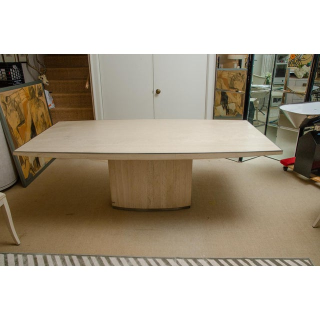 Metal Willy Rizzo Signed Travertine Dining Table For Sale - Image 7 of 7