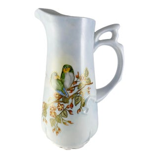 Birds on Branches Hand Painted Signed Pitcher Vase Artist Signed For Sale