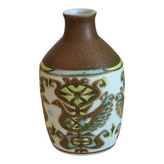 Royal Copenhagen Brown, Blue and Green Fajence Vase For Sale