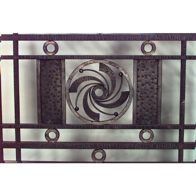 French Art Deco Wrought Iron Filigree Circle Design 4 Panel Gate For Sale - Image 4 of 5