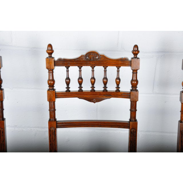 1900 - 1909 Antique Set of 4 French Henri II Oak Dining Chairs For Sale - Image 5 of 13