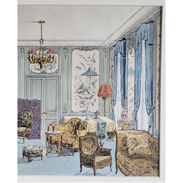 Art Deco Matted 1925 French Interior Furniture Lithograph For Sale - Image 3 of 5