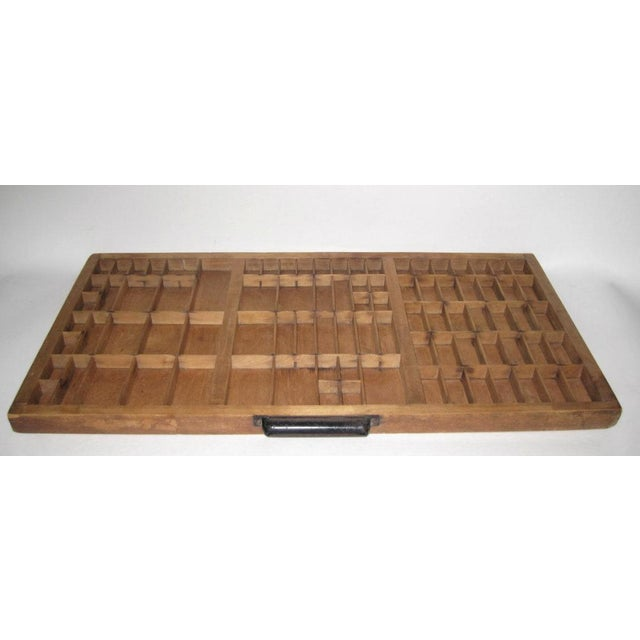 Mid-Century Modern Large Wooden Printer's Tray For Sale - Image 3 of 5