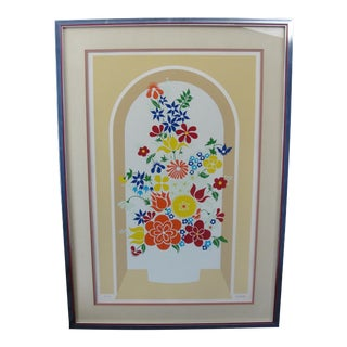 Vintage Limited Edition Arcade Flowers Silk Screen Print by Aubert For Sale