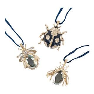 Enamel Ladybug Hanging Ornaments - Set of 3 For Sale