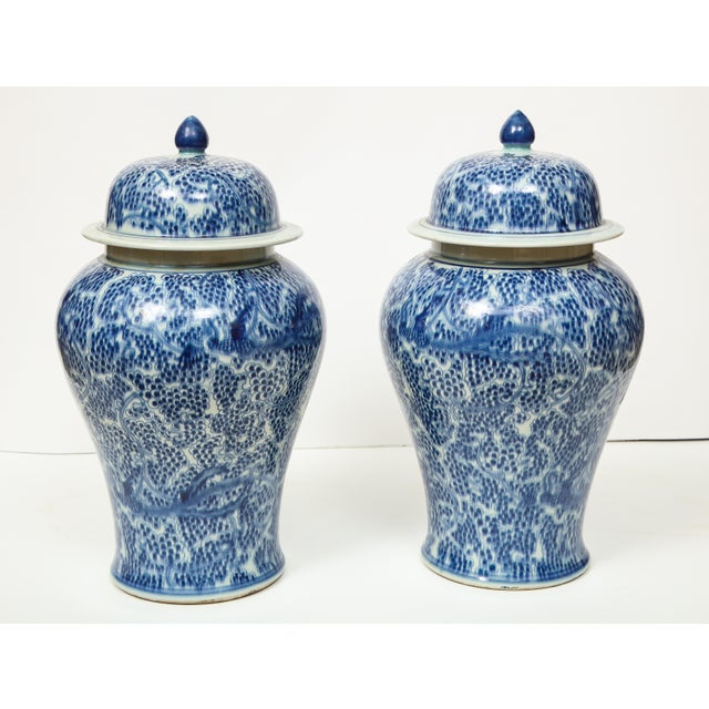 Chinese Blue and White Jars with Lids - A Pair For Sale - Image 10 of 13