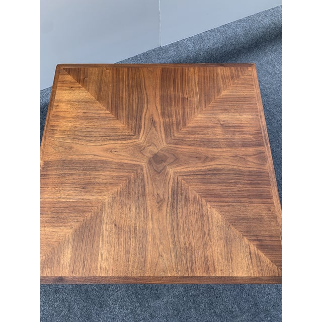 Drexel Mid 20th Century Mid-Century Modern Drexel Square Walnut Table For Sale - Image 4 of 9