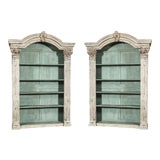 Image of Louis XIV French Carved Painted Bookcases with Antique Elements - A Pair For Sale