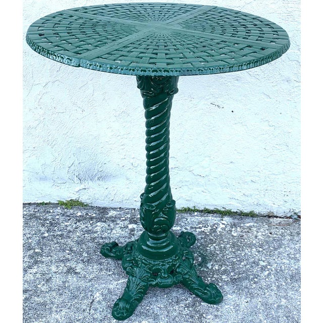Green Victorian Style Garden/Patio Hightop Table and 3 Chairs, Provenance Celine Dion - Set of 4 For Sale - Image 8 of 11