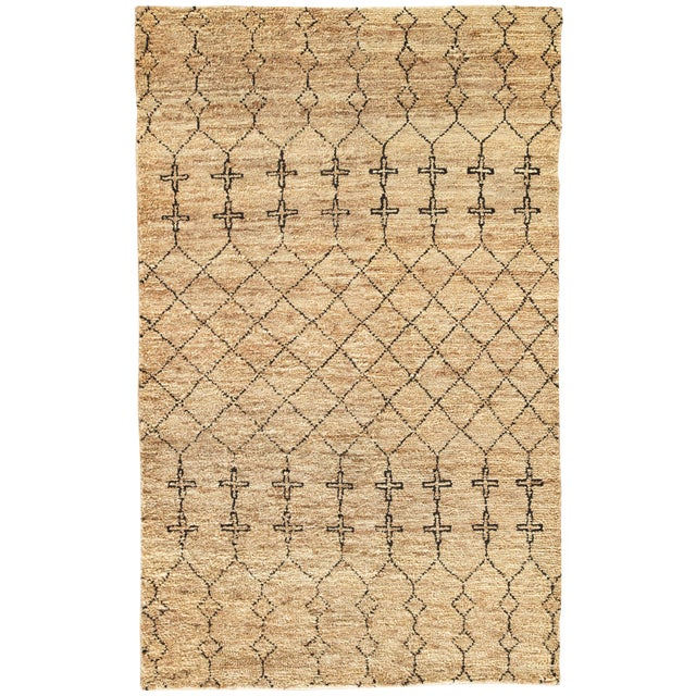 Nikki Chu by Jaipur Living Lapins Natural Trellis Tan & Black Area Rug - 8' X 10' For Sale