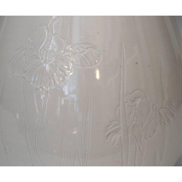 Ceramic Antique Japanese Carved Studio Blanc De Chine Porcelain Vase For Sale - Image 7 of 11