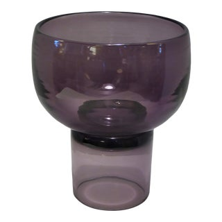 1950s Vintage Wayne Husted Blenko Glass Rarely Seen Purple Chalice Vase For Sale