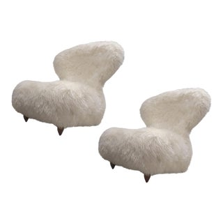 Annie Hieronimus for Cinna Pair of Chair Covered in Mohair Faux Fur