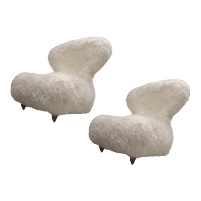 Annie Hieronimus for Cinna Pair of Chair Covered in Mohair Faux Fur For Sale