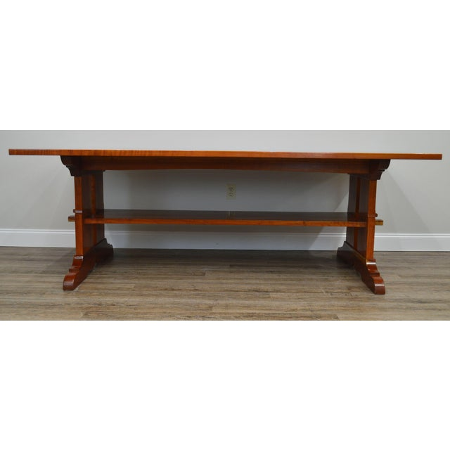 Arts & Crafts Style Custom Quality Cherry Trestle Dining Table For Sale - Image 10 of 13