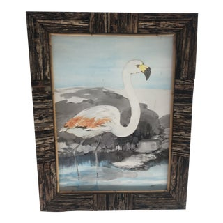 1970s Flamingo Watercolor Painting, Framed For Sale