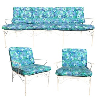Mid Century 3 Piece Outdoor White Iron Patio Chairs & Bench For Sale