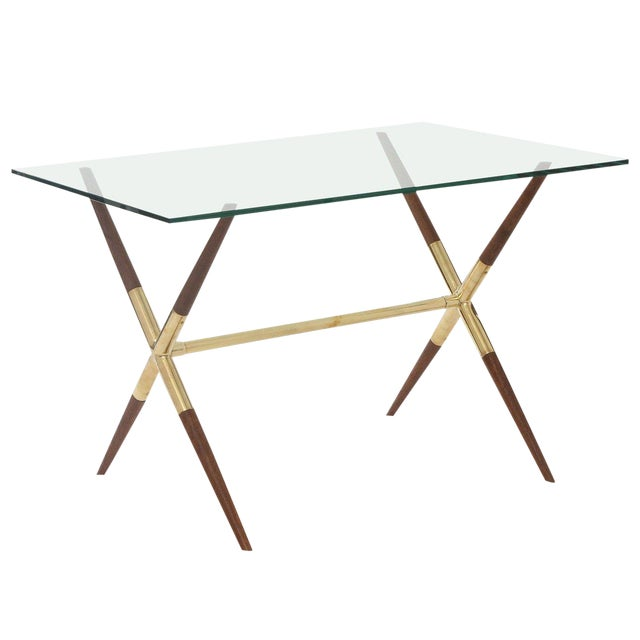 Tapered Walnut and Polished Brass Italian Occasional Table For Sale