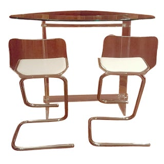 Hill Vintage Lucite Bar & 2 Stools For Sale