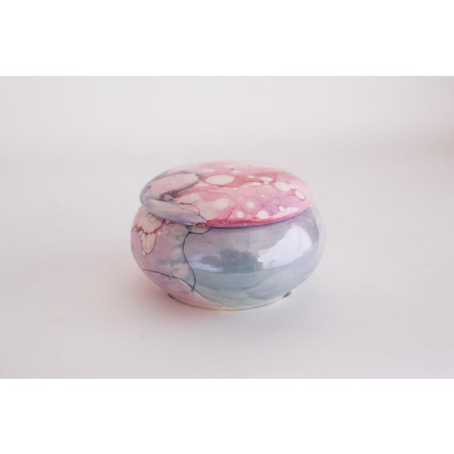 Abstract Hand Painted Metallic Opal Water Color Jar For Sale - Image 3 of 6