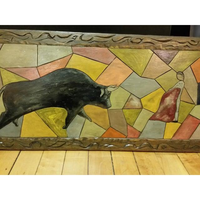 Vintage Carved Wooden Bullfighting Scene - Image 3 of 7