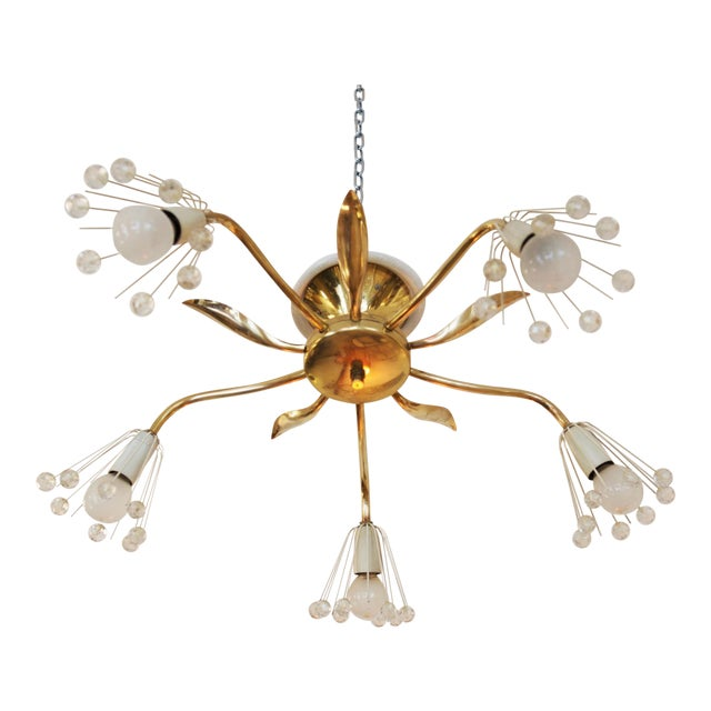 Mid-Century Brass Chandelier by Emil Stejnar for Rupert Nikoll For Sale